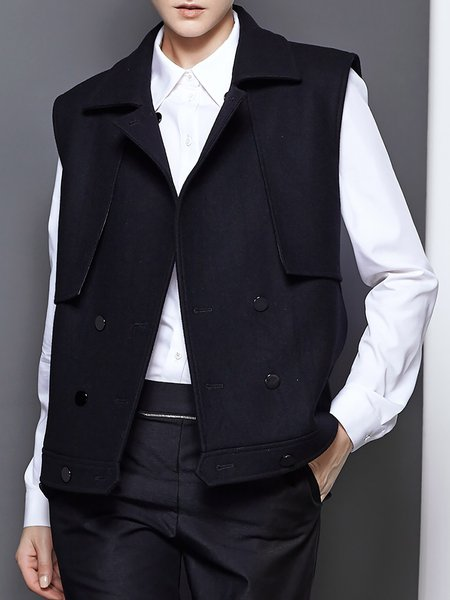 Black Casual Pockets V Neck Wool Blend Vest