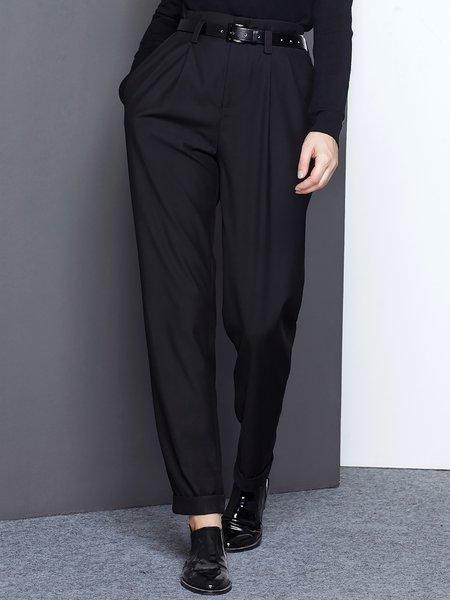 Black Work Pockets Plain Straight Leg Pants
