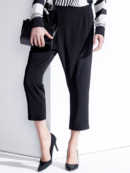 Black Polyester Casual Pockets Straight Leg Pants