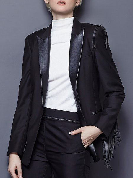 Paneled Long Sleeve Work Blazer