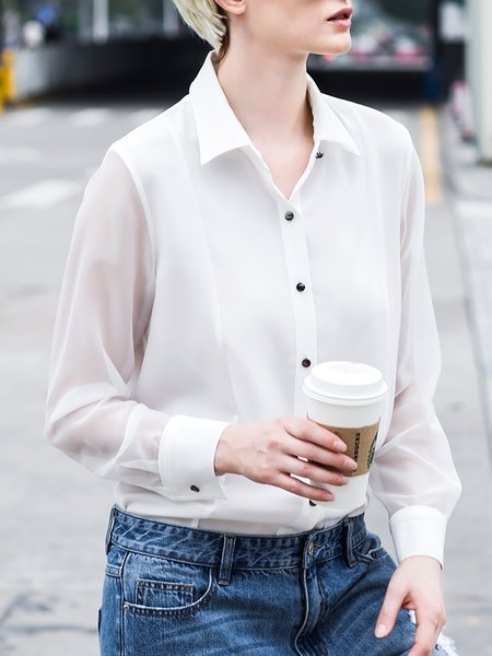 Plain Long Sleeve Chiffon Casual Blouse