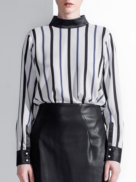 White Crew Neck Casual Polyester Stripes Blouse
