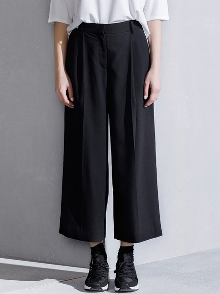Black Casual Plain Polyester Wide Leg Pants