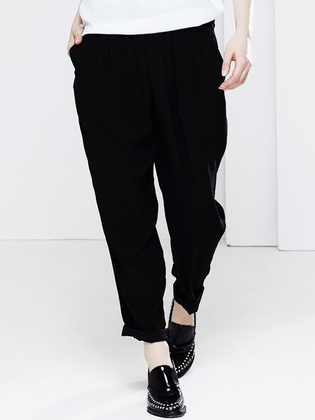 Black Plain Polyester Pockets Casual Wide Leg Pants
