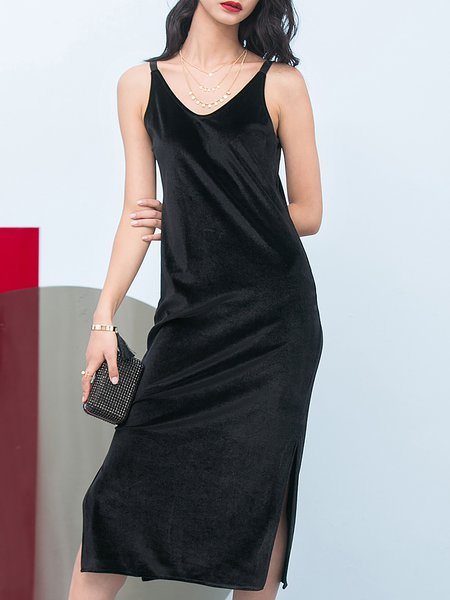 Black Spaghetti Slit Midi Dress