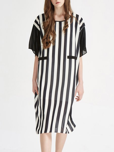 White H-line Polyester Casual Midi Dress
