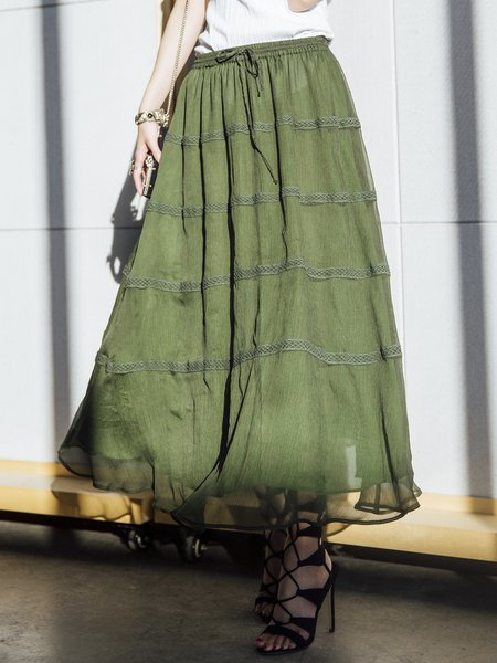 Green A-line Casual Polyester Plain Midi Skirt