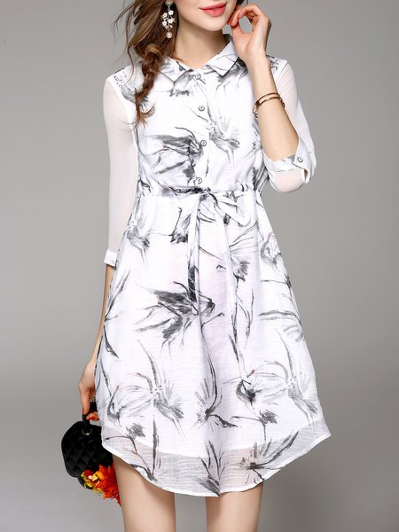 White A-line Shirt Collar Casual Polyester Mini Dress