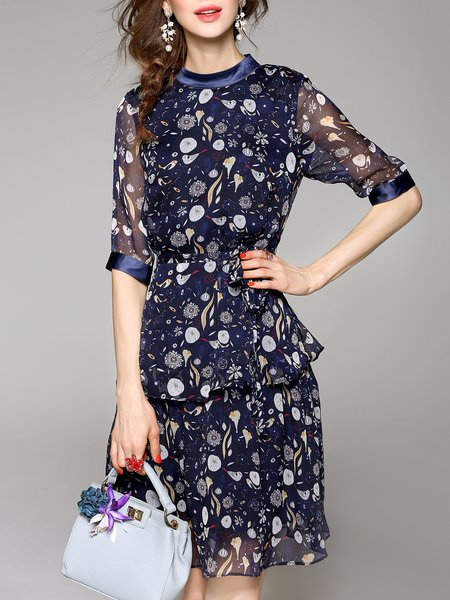 Multicolor Chiffon A-line Half Sleeve Midi Dress