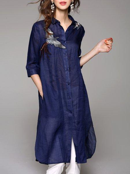Navy Blue Ramie Appliqued 3/4 Sleeve Shirt Dress