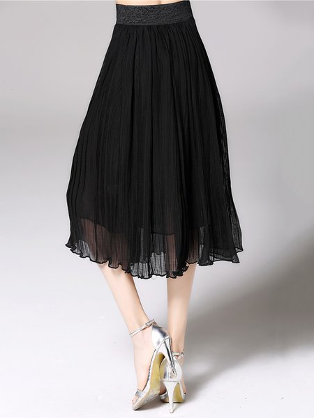 Black Plain Casual A-line Ribbed Midi Skirt - StyleWe.com
