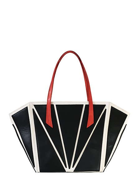 Black Casual Snap Tote