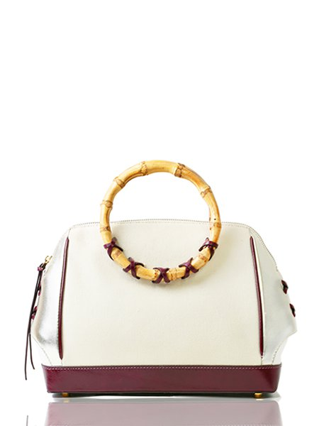 Beige Bamboo Zipper Cowhide Leather Top Handle