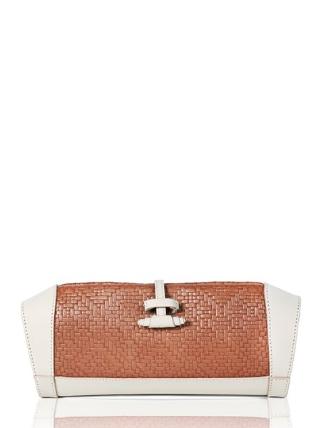 Brown Medium Cowhide Leather Casual Clutch