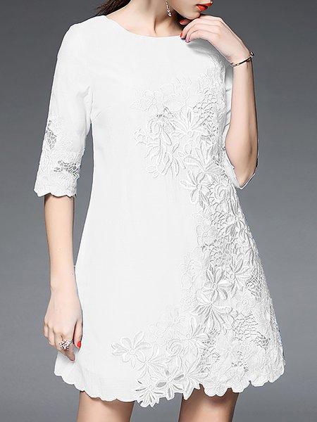 White Crew Neck A-line Sweet Polyester Mini Dress