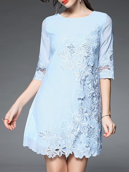 Light Blue Girly Crew Neck Floral Crochet-trimmed Mini Dress