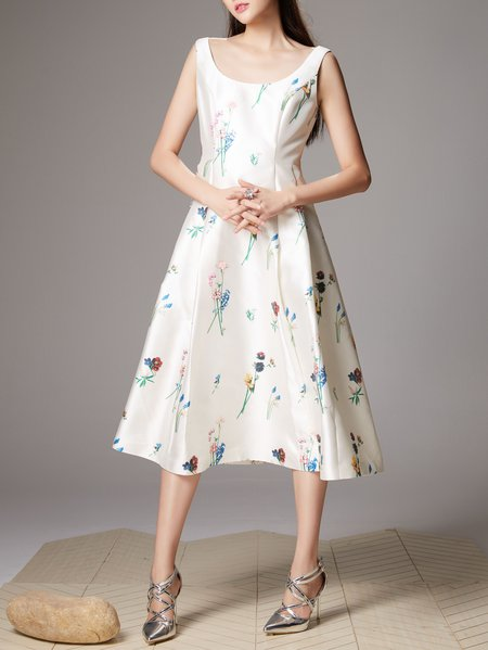 Short Sleeve Girly Silk-blend Crew Neck Floral Midi Dress