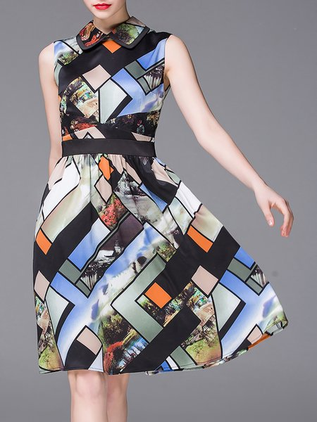 Multicolor Casual Crew Neck Geometric Midi Dress