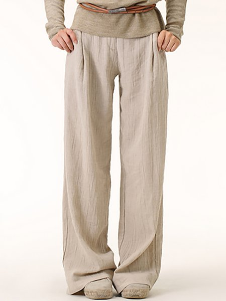 Gray Casual Plain H-line Linen Wide Leg Pants