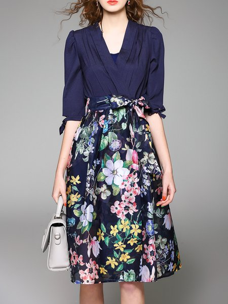 Blue Elegant Floral Polyester A-line Wrap Dress