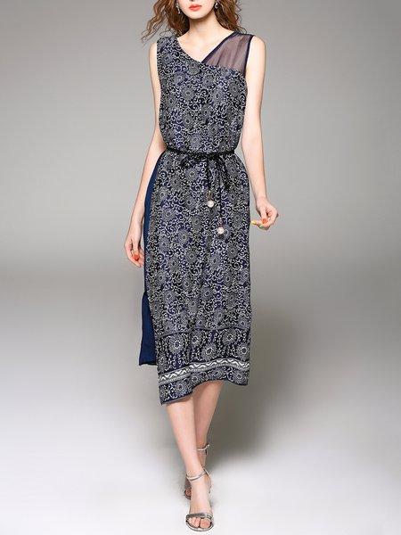 Blue Polyester Sleeveless Midi Dress