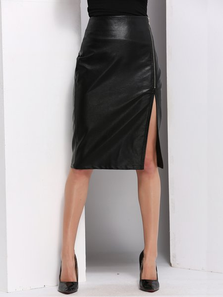 Black Sexy PU Slit Leather Skirt