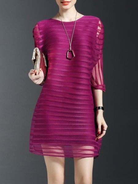 Fuchsia Crew Neck Simple Ribbed Midi Dress