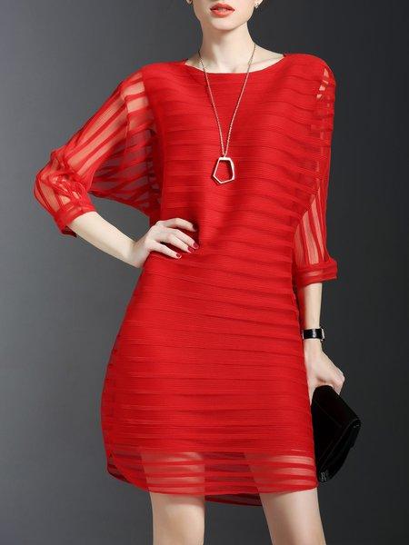 Red Ribbed Plain 3/4 Sleeve Polyester Midi Dress