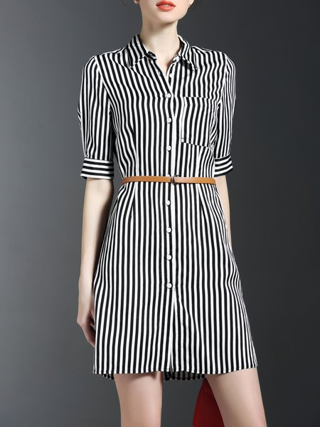 Black Half Sleeve Stripes Printed Shirt Dress with Belt