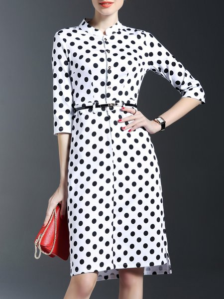 Black V Neck Printed Work Sheath Midi Dress