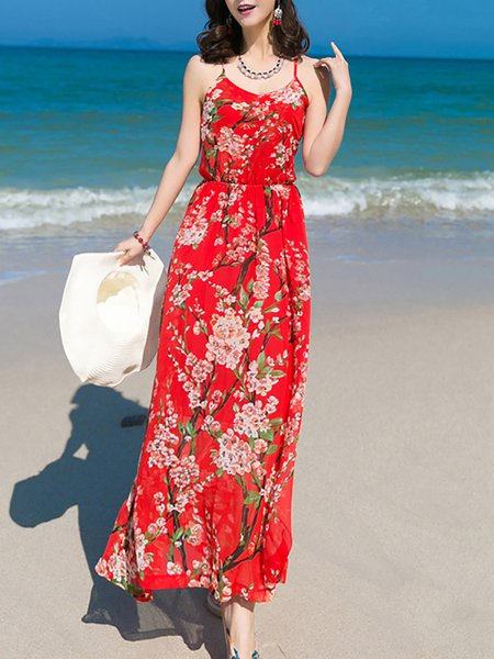 Red Floral Beach Maxi Dress