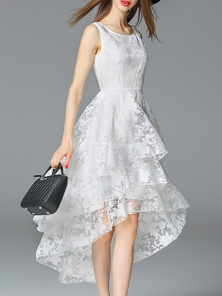 Crew Neck Beach Sleeveless Floral Organza Midi Dress