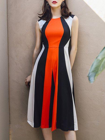 A-line Casual Sleeveless Ruffled Midi Dress