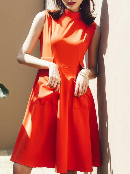 Sleeveless A-line Polyester Casual Midi Dress