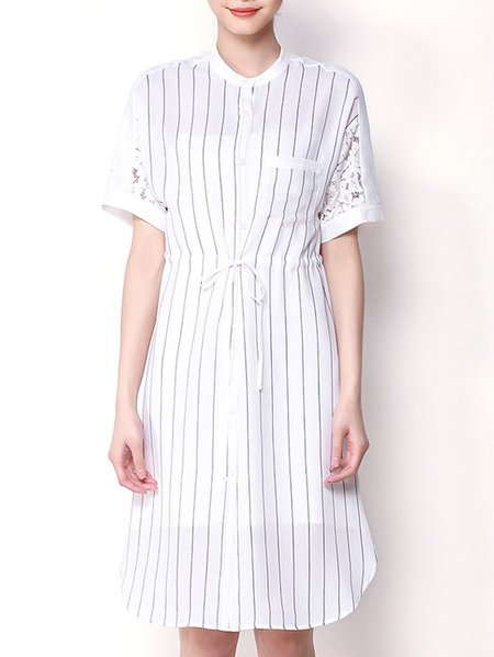 White Casual Stripes Midi Dress