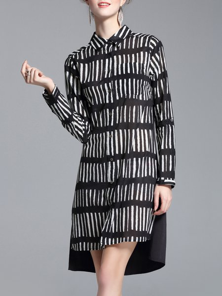 Crew Neck Simple Long Sleeve Stripes Midi Dress