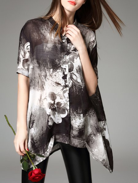 Casual Floral Printed Half Sleeve Asymmetrical Silk-blend Blouse