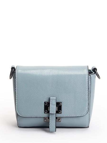 Blue Cowhide Leather Buckle Casual Crossbody