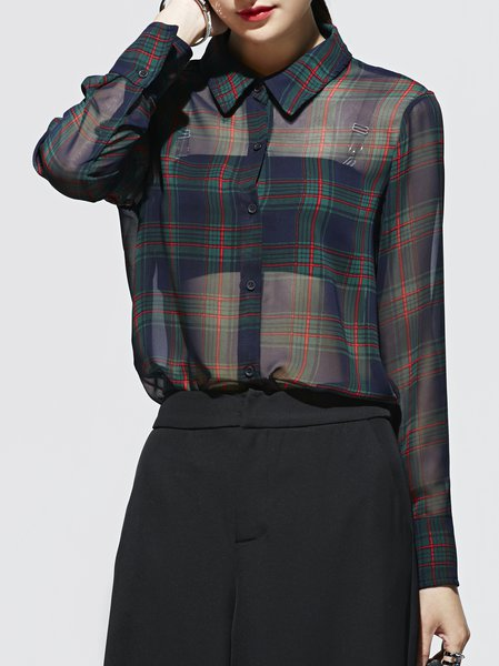 Green Long Sleeve V Neck H-line Polyester Blouse