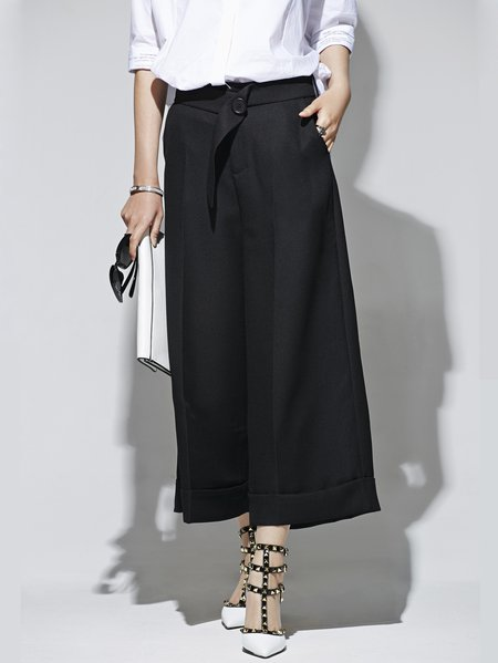 Black Simple Pockets Plain A-line Straight Leg Pants