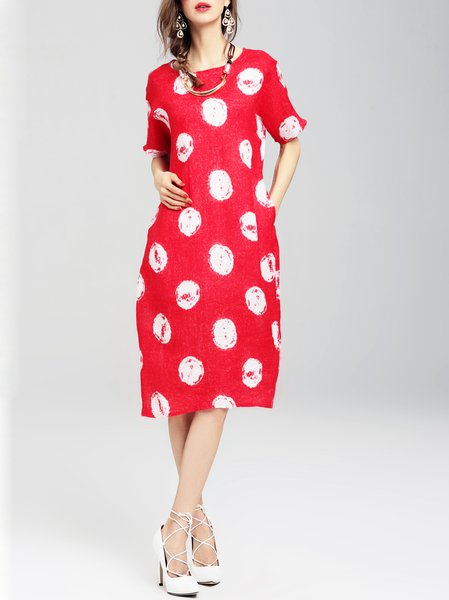 Polka Dots Casual H-line Half Sleeve Midi Dress