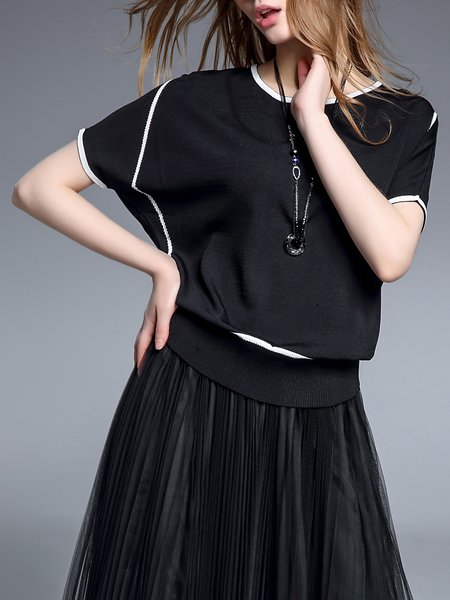 Asymmetric H-line Short Sleeve Casual Blouse