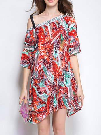 Red Casual Off Shoulder Printed Mini Dress