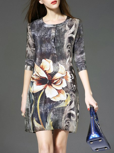 Vintage Crew Neck H-line Floral Half Sleeve Mini Dress