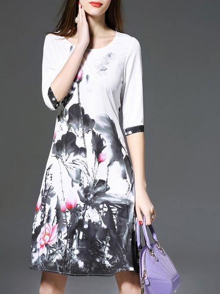 A-line Vintage Floral Print Half Sleeve Midi Dress