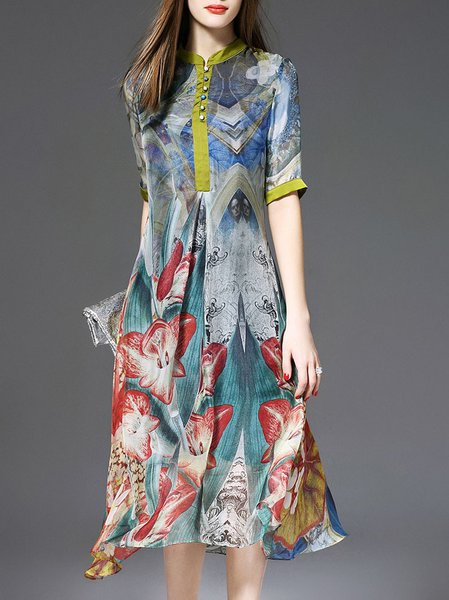 Multicolor Stand Collar Half Sleeve Shirt Dress