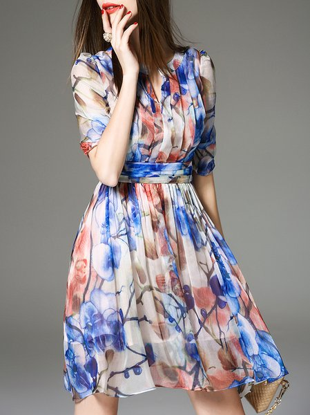Printed Half Sleeve Silk Resort Mini Dress