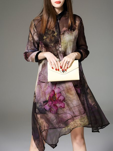 Multicolor Silk 3/4 Sleeve Shirt Collar Two Piece Midi Dress