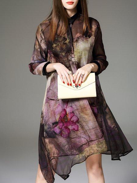 Plus Size Multicolor Silk 3/4 Sleeve Shirt Collar Two Piece Midi Dress
