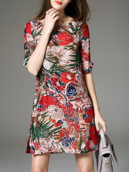 Multicolor Casual Bateau/boat Neck Mini Dress